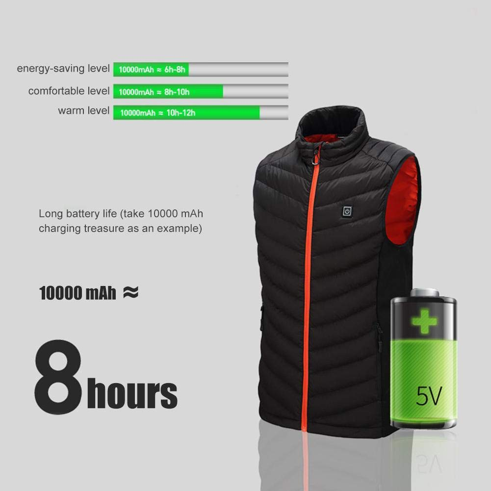 Wendysy Heating Vest Large Size Mens Stand Collar Heating Cotton Vest Autumn and Winter Graphene Electric Vest Adjustable USB Charging Heated Clothing