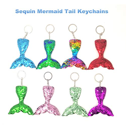 JACHAM 8 Colors Mermaid Keychain, Decorative Reversible Sequin Flip Little Mermaid Tail Keychains, Magic Birthday Party Favor Gifts for Women, Girls and Kids