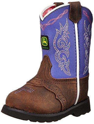 John Deere JD1158 Pull On Boot (Toddler) - Dark Brown Lea...