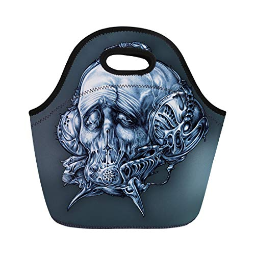 Semtomn Neoprene Lunch Tote Bag Fantastic Character in Helmet Gas Mask Cyberpunk Steampunk Space Reusable Cooler Bags Insulated Thermal Picnic Handbag for Travel,School,Outdoors, Work ()