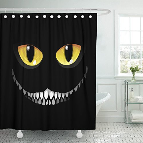 Emvency Shower Curtain Yellow Alice Black Cat in Darkness Glowing Eyes and Sinister Smile Wonderland Cheshire Waterproof Polyester Fabric 72 x 72 inches Set with Hooks]()