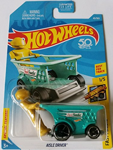 Nice Hot Wheels 2018 50th Anniversary Fast Foodie Aisle Driver (Shopping Cart Car) 43/365, Teal