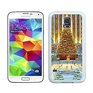 Fashion Style Golden Tree Christmas Scene White Samsung Galaxy S5 Case 1