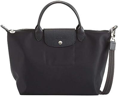 Longchamp 'Medium Le Pliage Neo' Nylon Top Handle Tote Shoulder Bag, Black