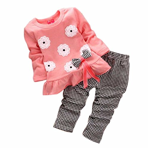 XILALU Kids Girls Long Sleeve Flower Bow Shirt Plaid Pant Set Clothing (3-4Y, Pink)