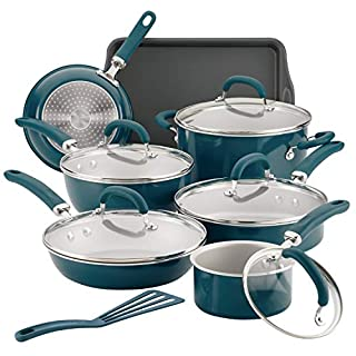 Rachael Ray Create Delicious Nonstick Cookware Pots and Pans Set, 13 Piece, Teal Shimmer