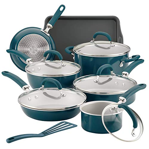 Rachael Ray 12144 Create Delicious Aluminum Nonstick Cookware Set, 13 Piece, Teal Shimmer