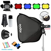 Godox AD200 200Ws 2.4G TTL Pocket Flash Speedlite Strobe 1/8000 HSS Monolight with 2900mAh Lithium Battery/24x24 softbox & S-Type holder/32 5-in-1 Reflector/BD-07 Barn Door kit/AD-S2/AD-S9
