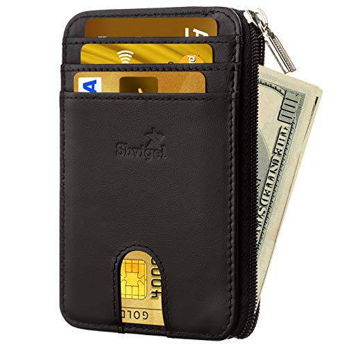 Slim Wallet Credit Card Holder  Leather RFID Blocking Minimalist Men Wallet
