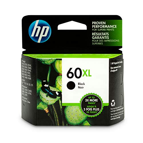 HP 60XL Black Ink Cartridge (CC641WN) for HP Deskjet D2530 D2545 F2430 F4224 F4440 F4480 HP ENVY 100 110 111 114 120 HP Photosmart C4640 C4650 C4680 C4780 C4795 D110 ()