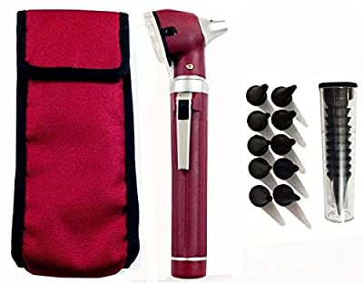 Fiber Optic Mini Otoscope Set - Medical Diagnostic Examination Set - Pocket Size - (MAROON)