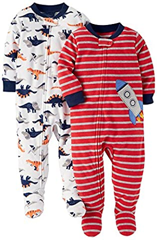 Carter's Baby Boys' 2-Pack Fleece Pajamas, Rocket/Dino, 24 Months - Baby Boy Pajamas