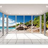 artgeist Photo Wallpaper Window Sea 118'x83' XXL Non-Woven Wall Mural Premium Print Fleece Picture Image Design Home Decor c-C-0068-a-a