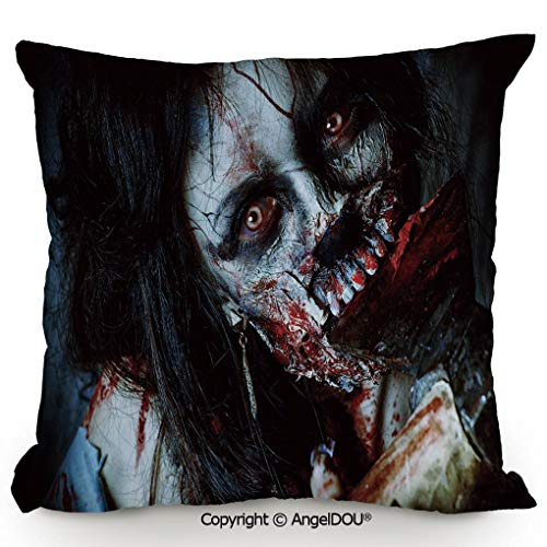 AngelDOU Square Cotton Linen Pillow Cushion,Scary Dead Woman with Bloody Axe Evil Fantasy Gothic Mystery Halloween Picture,Living Room Sofa car Bed Back Cushion Pillowcase.19.6x19.6 inches]()