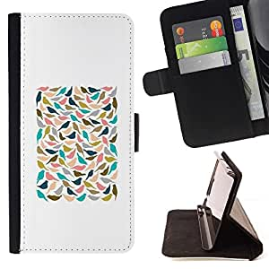 """Blanco Trullo minimalista del cartel"""" Colorida Impresión Funda Cuero Monedero Caja Bolsa Cubierta Caja Piel Id Credit Card Slots Para Apple Iphone 5C"""