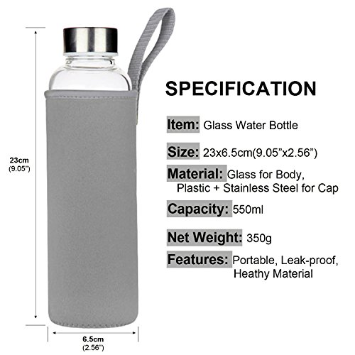 Glass Water Bottle 2 Pack Deluxe Set 18oz for Juicing or Beverage Storage - Included Stainless Steel Lids and Nylon Sleeve for Travel and Gym Use by StillBetter (Image #3)