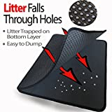 Large Cat Litter Trapper Mat With Exclusive Urine/Waterproof Layer. Larger Holes with Urine Puppy Pad Option for Messy Cats. Soft on Paws and Light. By iPrimio. (Black Color)