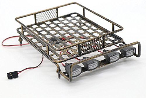 RC 1:10 Roof Luggage Rack LED Light Bar Wrangler Tamiya CC01 SCX10 Axial 514 (Coppery)