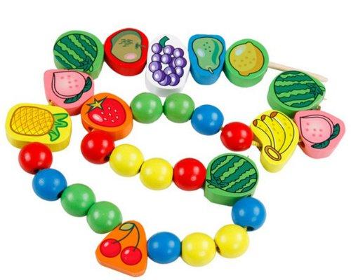 Super cute baby fruit string line!Children's educational toys!Wooden children beaded A01-03-02 (Beaded Domino)