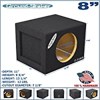 8 Single Sealed Sub Box 0.50 cu.ft. MDF Black Subwoofer Enclosure