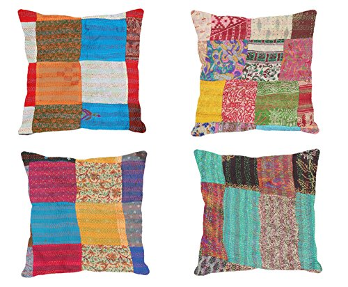 Indistar Set of 4 Throw Pillow Cover | Silk Patchwork Cushion Covers with Traditional Indian Kantha Work | Decorative Cushion Covers, 20 x 20 Inch_(93100-537)