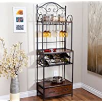 K&A Company Sturdy Rack Wine Glass Metal Storage Bakers Shelf Shelves exceptional storage wood drawer Tier with Wine Glass and Bottle Storage
