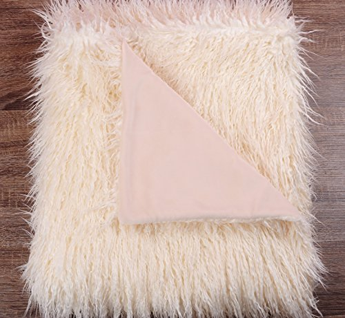 - Xent Living White Ivory Shaggy Mongolian Lamb Faux Fur Throw Blanket