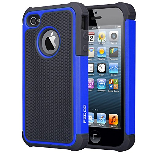 iPhone 4 Case,iPhone 4S Case, [Football face] Shockproof Durable Hybrid Dual Layer Armor Defender Full Body Protective Hard Plastic with Soft Silicone Case Cover for Apple iPhone 4 4S (Black Blue) (4g Bumper)