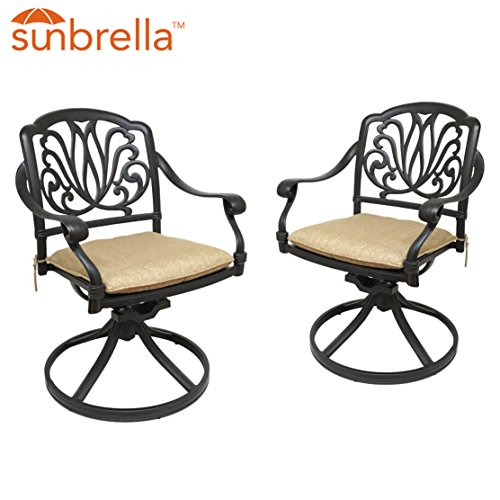 Table & Chair Designs - Elise Cast Aluminum Patio Swivel Rocking Chairs with Sunbrella Premium Cushions (Set of 2)