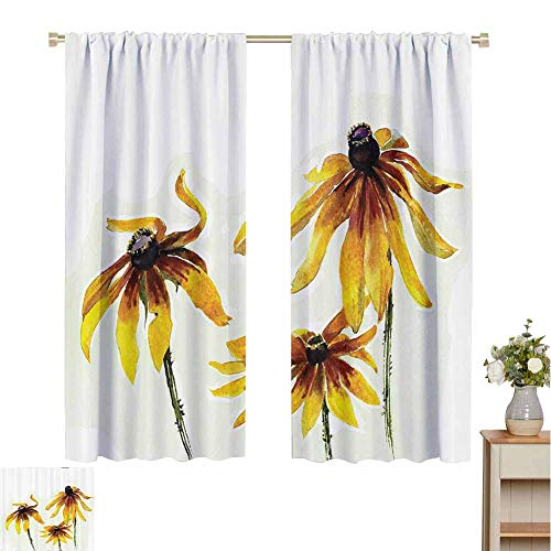 June Gissing Watercolor Flower Decor Curtain Panels Garden Daisy Flowers in Soft Painting Effect Dramatical Nature Mod Graphic Colorful Heat Insulation Curtain W63 x L63 Yellow White (Furniture Garden Mod Minecraft)