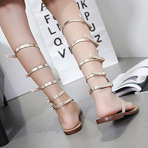 Sandales Montantes Chaussures strap Or Plat Chaîne T Brillant Dorees Bottes Strass Beautyjourney fille Femmes Femme qXwaxHd