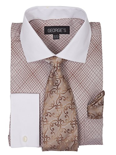 - George's Small Check Pattern Fashion Dress Shirt With Woven Tie Set AH624 Brown-16-16 1/2-36-37
