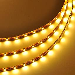 LEDwholesalers 5m (16.4ft) Single Color 300x3528SMD LED Strip Kit with Inline Dimmer and Power Supply, Warm White 2700K, 2026WW-27K+3318+3223