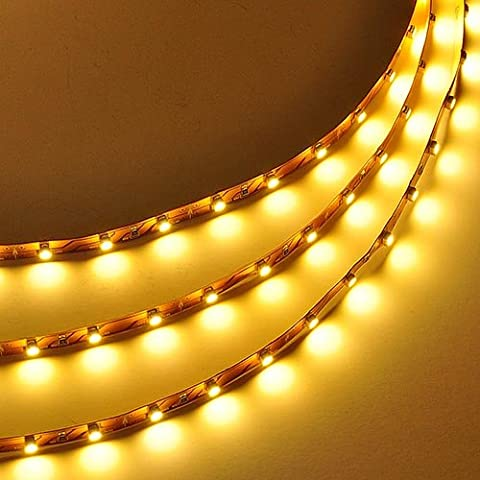 LEDwholesalers 16.4 Feet (5 Meter) Flexible LED Light Strip with 300xSMD3528 and Adhesive Back, 12 Volt, Warm White 2700K, 2026WW-27K