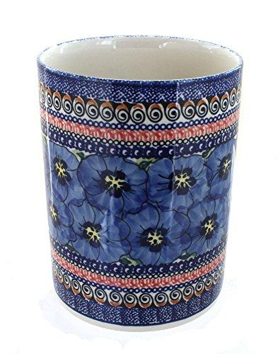 Polish Pottery Blue Art Utensil Jar by Zaklady