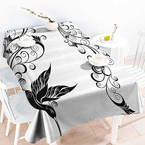 Homrkey Fabric Dust-Proof Table Cover Hummingbirds Decorations Collection Tattoo Hummingbird Silhouette Wildlife Decorative Curvy Stems Blooms Imagery Black White Table Decoration W70 xL84