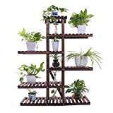 Ufine Wood Plant Stand Outdoor Indoor Carbonized Multiple Planter Holder Flower Ladder Stair Shelf Garden Balcony Patio Corner Pot Display Storage Rack