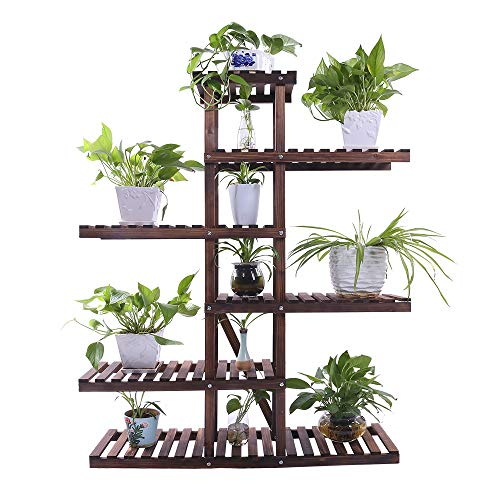 Ufine Carbonized Wood Plant Stand Holder 6 Tier High Low Shelf Space Saving Flower Display Rack for Indoor Outdoor Garden Patio Balcony Living Room Bathroom Office