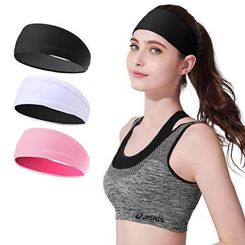 JOEYOUNG Sport Headbands & Sweatbands for Men and Women, 3 Pack Workout Headbands Hairbands for Yoga, Running, Crossfit, Cycling, Basketball - Breathable & Non-Slip & Performance Stretch