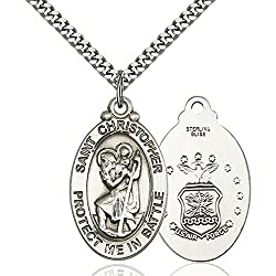 Sterling Silver St. Christopher Pendant 1 18 X 1 14 Inches With Heavy Curb Chain