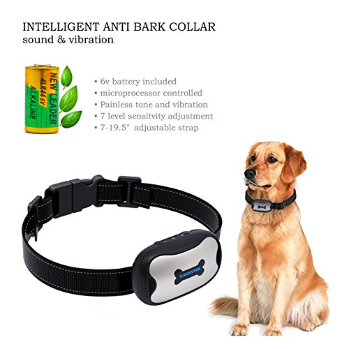 POP VIEW Bark Collar [New Version] Humanely Stops Barking with Sound and Vibration. NO Shock, Harmless and Humane. Small Dog Bark Collar, Medium Dog Bark Collar