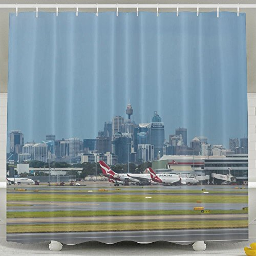 ZiXia Sydney Australia March Sydney Airport With The Sydney Cbd In Background Apartment Decor White Shower Curtains 6072inch Polyester Artwork - John Airport Way