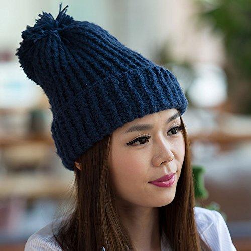 otoño de Sombreros de Invierno de Punto Salvajes Han Khaki BLUE Sombreros los de Largo señoras los Ventilador Las para señoras Maozi Gruesas lo Grueso a de de 7SngA58
