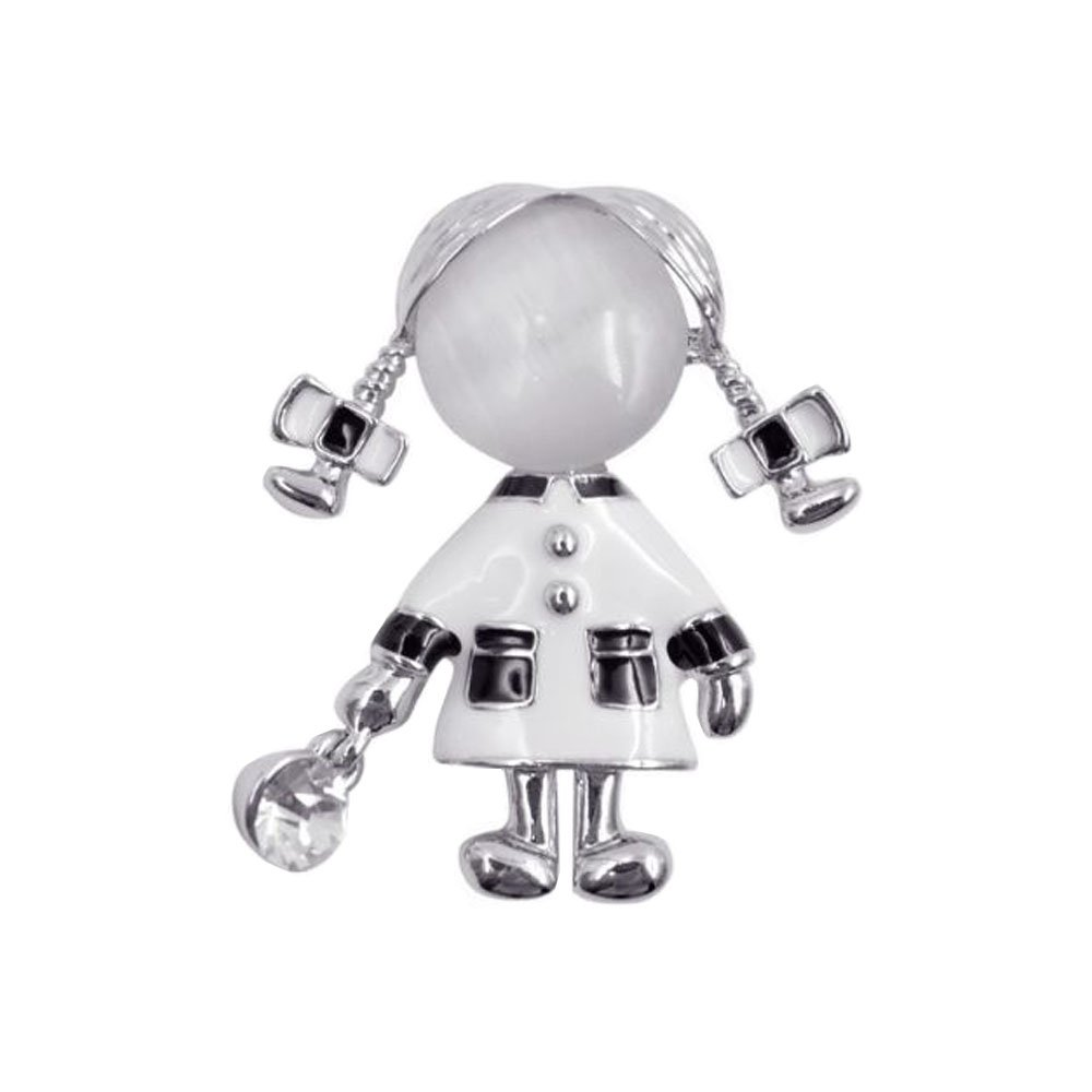 JOG Cindy White Small Cute Girl Brooches for Women Opal and Rhinestone Brooch Pin Silver Color Dress Coat