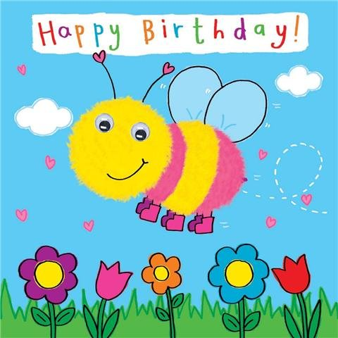 Twizler Happy Birthday Card for Child with Bumble Bee and Hand – Birthday Card for Child