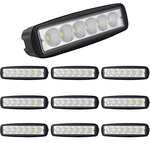 Willpower 10PCS 6'' inch 18W Flood LED Work Light Bar Lamp off Road High Power ATV Jeep 4x4 Tractor off Road Light Fog Driving Bar Rree Truck SUV Car IP67 Waterproof Dustproof Shockproof (Folding Atv Stand)