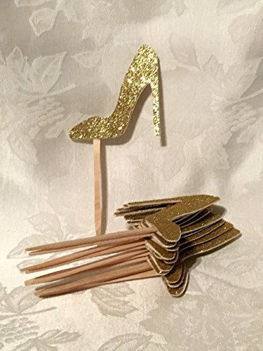 12 Glitter High Heel Shoe Cupcake Toppers, MANY COLORS -