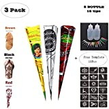 Temporary Tattoo Stencils Kits/Temporary Brown Red Tattoo Paste Cones for Body Art Drawing
