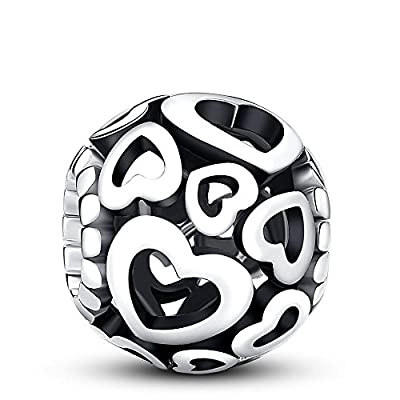 Glamulet Heart Shape Openwork Charms 925 Sterling Silver Love Beads Fits Pandora Bracelet, Ideal Jewelry Gifts for Women by Glamulet