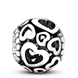 Glamulet Solid Color Love Hollow Charms 925 Sterling Silver Heart Shape Openwork Beads Fits Pandora Bracelet, Ideal Jewelry Gifts for Women